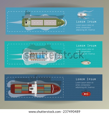 Different types of ships. Banners set. - stock vector