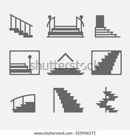 Different Types Of Stairs Or Stairway Icons. Vector Set Of Logo Elements Or  Symbols