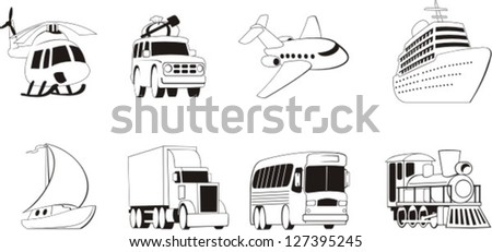 Different types of transportation for people and goods stock vector