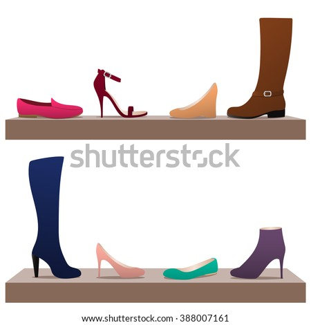 Different types of women's shoes on shelves: ballets, moccasins, boots, high heel shoes. - stock vector