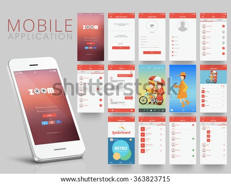 Different UI, UX, GUI screens and flat web icons for mobile apps, responsive website including Create Profile, Verify Contact Details, Chat, Video, Leader Boards, Files Sharing and Uploading Screens.  - stock vector