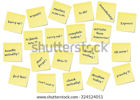 different urgent paper memo notes vector image - stock vector