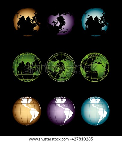 Different varieties of colored earth, Globe vintage, world globe, vector illustration, globe, earth, circle, round light, vintage image of the earth and globes retro style map of the world