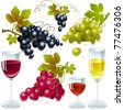 different varieties of grapes with leaves. wine glass  with wine. - stock vector