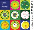 different vector design for clocks,vector set of different colorful clocks,design  for clocks,vector clock face,easy change time,clock with borders inside - stock photo
