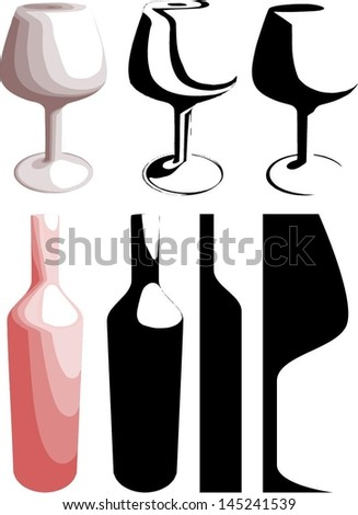 Different vector wine bottles and wine glasses.