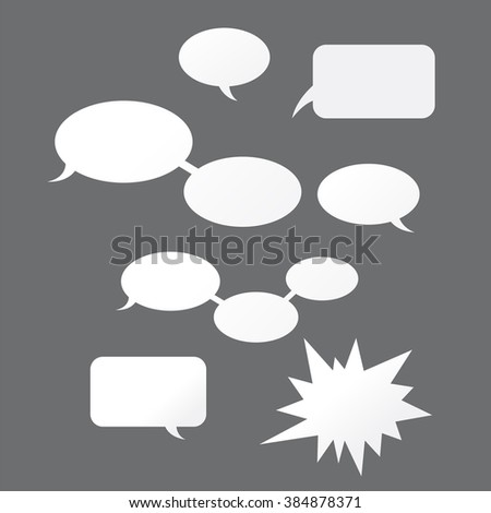 Different versions of comics speech. Vector illustration on gray background