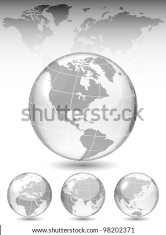 Different views of glass globe, map included, vector illustration, eps 10, 3 layers - stock vector