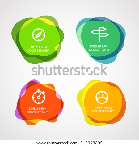 Different watercolor stamps with template text. Vector elements clip-art - stock vector