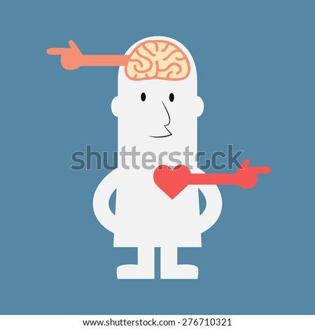 Different way of brain and heart - Vector - stock vector