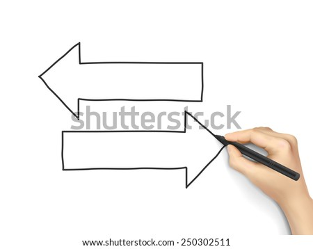 different ways drawn by 3d hand over white  - stock vector