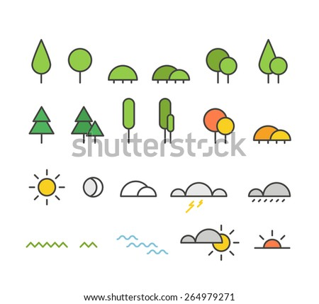 Different weather silhouette icons collection. Design elements - stock vector