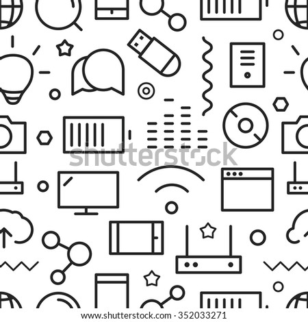 Different web icons seamless pattern. Line art concept - stock vector