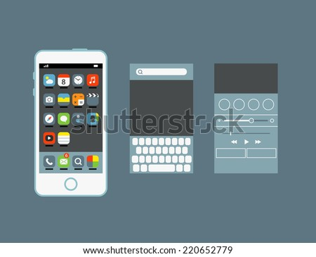 Different web icons set with rounded corners. Design elements - stock vector