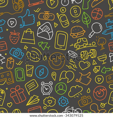 Different web interface doodle silhouettes seamless pattern. Cartoon style vector background - stock vector