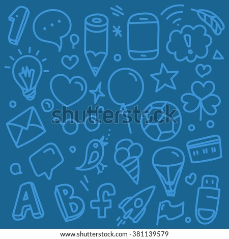 Different web interface silhouettes. Vector doodle clip-art - stock vector