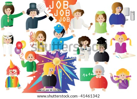 different workers: cook, student, clown, teacher, stewardess and so on