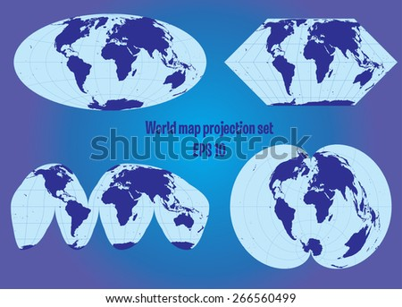 different world map projection set - stock vector