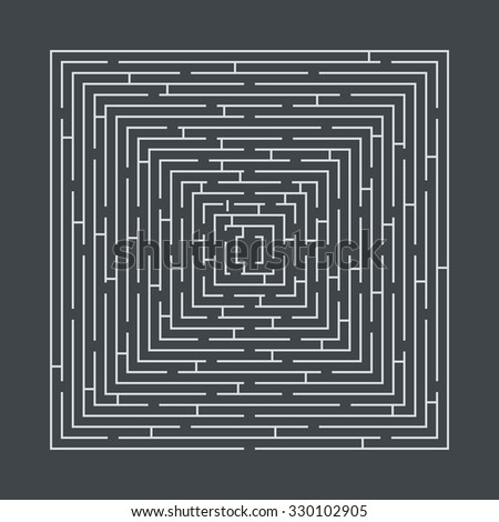 difficult and long maze educational game in the form of a square white on gray - stock vector