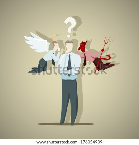Difficult decision of businessman - stock vector