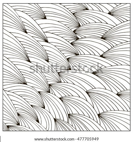 Difficult Hand drawn Uncolored Adult Coloring book page. Can be used as adult coloring book, coloring page, card, illustration vector