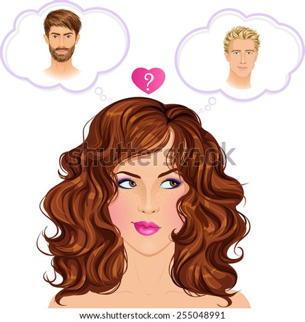 Difficult romantic choice: who is the one? Beautiful red haired woman thinking. Vector illustration. - stock vector