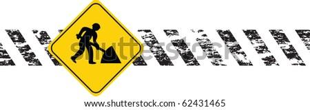 digging man construction - stock vector