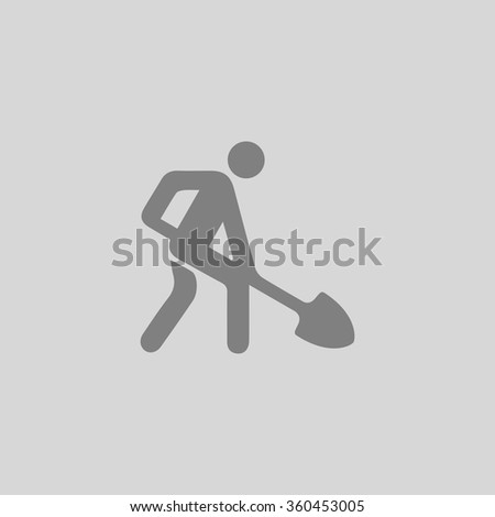 Digging man - Grey flat icon on gray background - stock vector