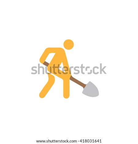Digging man Simple flat vector icon - stock vector