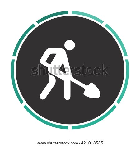 Digging man Simple flat white vector pictogram on black circle. Illustration icon - stock vector