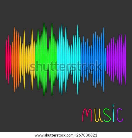 Digital abstract equalizer. Multicolored waveform background. Music card Flat design Vector illustration - stock vector