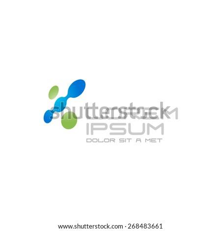 Digital abstract tech color dots logo - stock vector