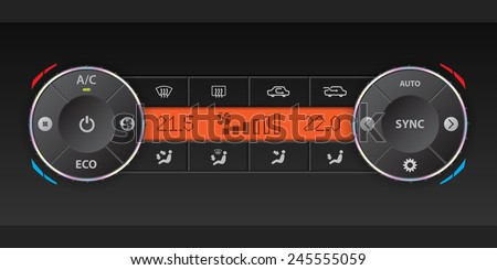 Digital air condition dashboard design with dual ac and orange lcd - stock vector