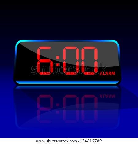 Digital alarm clock - stock vector