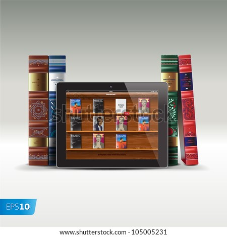 Digital and real books, vector Eps10 image - stock vector