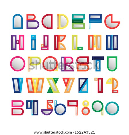 Digital art design of colorful alphabet set - Vector illustration