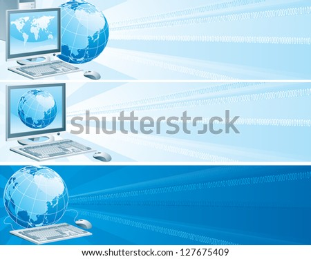 Digital Asia. Set of vector banners with computer, flat monitor,  mouse and  globe on an abstract background