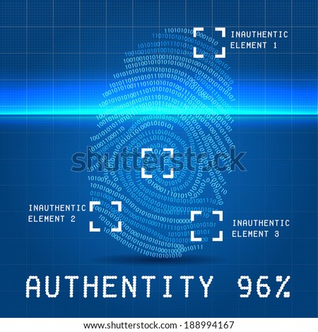 Digital authenticity finger scan vector illustration stock vector digital authenticity finger scan vector illustration over blueprint paper with inauthentic element malvernweather Image collections