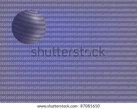 digital background with binary globe vector illustration