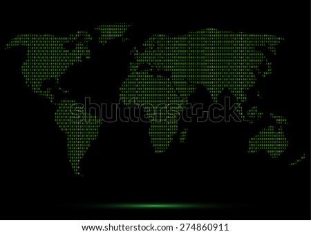 Digital Binary World Map Green Code Lines Light-Dark Tones Vector Illustration - stock vector