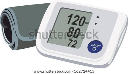 Digital blood pressure wrist tonometer monitor display scree - stock vector