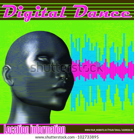 Digital blue female, Clubbing or DJ Set Vector Poster - stock vector