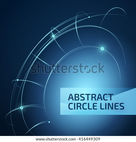 Digital blue lines. Color technology sphere illustration. Modern glowing shape design with glow point. 3d connection. - stock vector