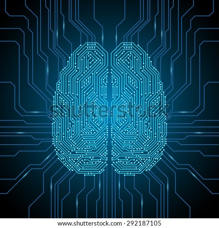 Digital brain illustration - stock vector