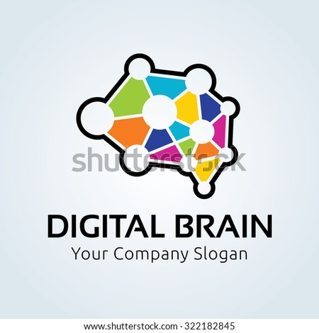 Digital brain logo,Brain logo,Creative logo,education logo,learning,inspiration,idea logo,Mine and Planning logo,Vector logo template - stock vector