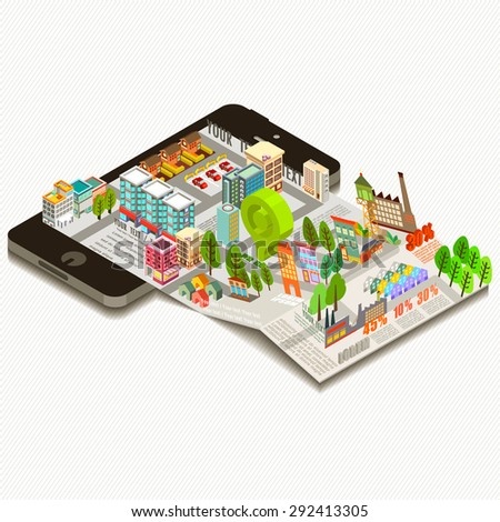Digital brochure, Map on mobile application, Vector illustration.  - stock vector