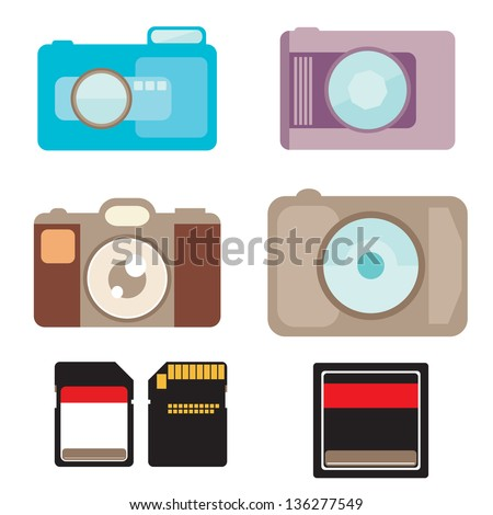 Digital camera and memory card. vector format - stock vector