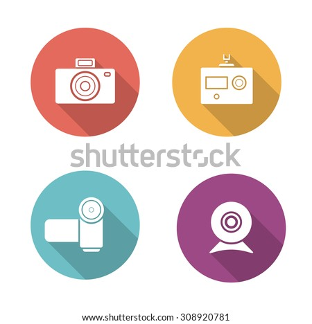 Digital camera flat design icons set. Slr vintage photocamera sign. Modern action camera pictogram. Video and webcam long shadow silhouette vector equipment symbols. Infographic multimedia elements    - stock vector