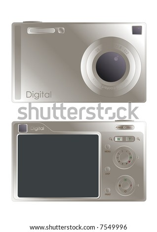 digital camera illustration fully editable and isolated on white background - stock vector