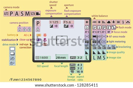 Digital camera menu for learning or representing the data - two vector layers - stock vector